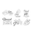 classical music concert hand drawn badges set vector image vector image
