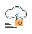 cloud security icon with lock vector image vector image