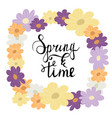 colorful flower wreath spring lettering vector image