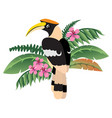 colorful friendly great hornbill icon wild indian vector image vector image