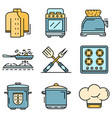 cooker icon set line color vector image vector image