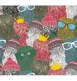 Crowd of cute doodle owl vector image vector image