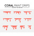 current paint stains coral color paint dripping vector image vector image