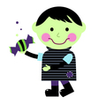 Cute halloween zombie boy holding candy vector image vector image