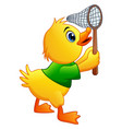 cute little duck with a net on a white background vector image vector image
