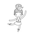 dotted shape girl practice ballet with bun hair vector image vector image