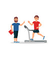 fitness coach and young man on treadmill active vector image vector image