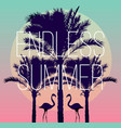 flamingos and a banana palm tree vector image