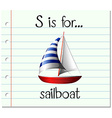 Flashcard letter S is for sailboat vector image vector image