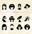 flat collection icons various women vector image vector image