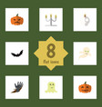 flat icon celebrate set of cranium spirit zombie vector image vector image