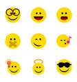 flat icon emoji set of descant hush laugh and vector image vector image