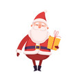 funny santa claus with gift box cute christmas vector image vector image