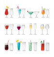 glasses with wine and cocktails set vector image