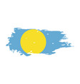 grunge brush stroke with palau national flag vector image vector image