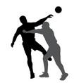 handball player blocking opponent player vector image vector image