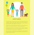 happy family greeting everyone poster with text vector image vector image