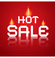 Hot Sale Paper Title In Flames on Red Background vector image