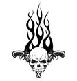 Human skull with gun vector image vector image