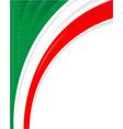 italian flag corner frame background vector image vector image