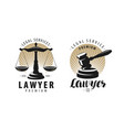 law office attorney lawyer logo or label scales vector image vector image