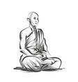 line sketch meditating monk vector image