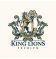 luxury golden royal lion king logo template vector image