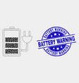 pixelated charge battery icon and scratched vector image vector image