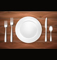 realistic table setting arrangement wooden texture vector image