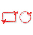 round and rectangular frames with red tape and bow vector image