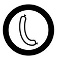 sausage icon black color in circle or round vector image vector image