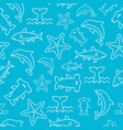 seamless pattern sea life starfish hammerhead vector image