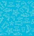 seamless pattern sea life starfish hammerhead vector image
