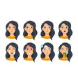 set asian female emotions facial expressions vector image vector image