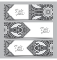 Set of three grey horizontal banners with vector image