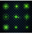 Shine green stars glitters sparkles vector image