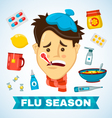 Sick man with thermometer in his mouth flat vector image vector image