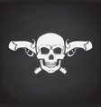 silhouette skull jolly roger with crossed pistols vector image