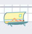 tan skin woman in solarium beauty salon vector image