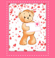 teddy bear plush toy with love letter in envelope vector image vector image