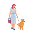 woman pet owner walking with dog isolated person vector image vector image