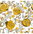 yellow and blue floral pattern wallpaper vector image vector image