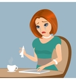 Young elegant woman is crying in the cafe - close vector image