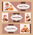 bakery shop desserts banners set vector image vector image