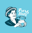 beautiful woman with a jug fresh milk dairy vector image