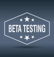 beta testing hexagonal white vintage retro style vector image vector image