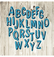 blue alphabet hand drawn vector image