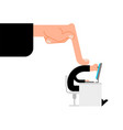 boss finger presses on worker manager computer is vector image vector image