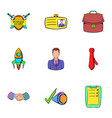 business center icons set cartoon style vector image vector image