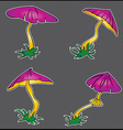 cartoon lilac poisonous mushroom growing vector image vector image